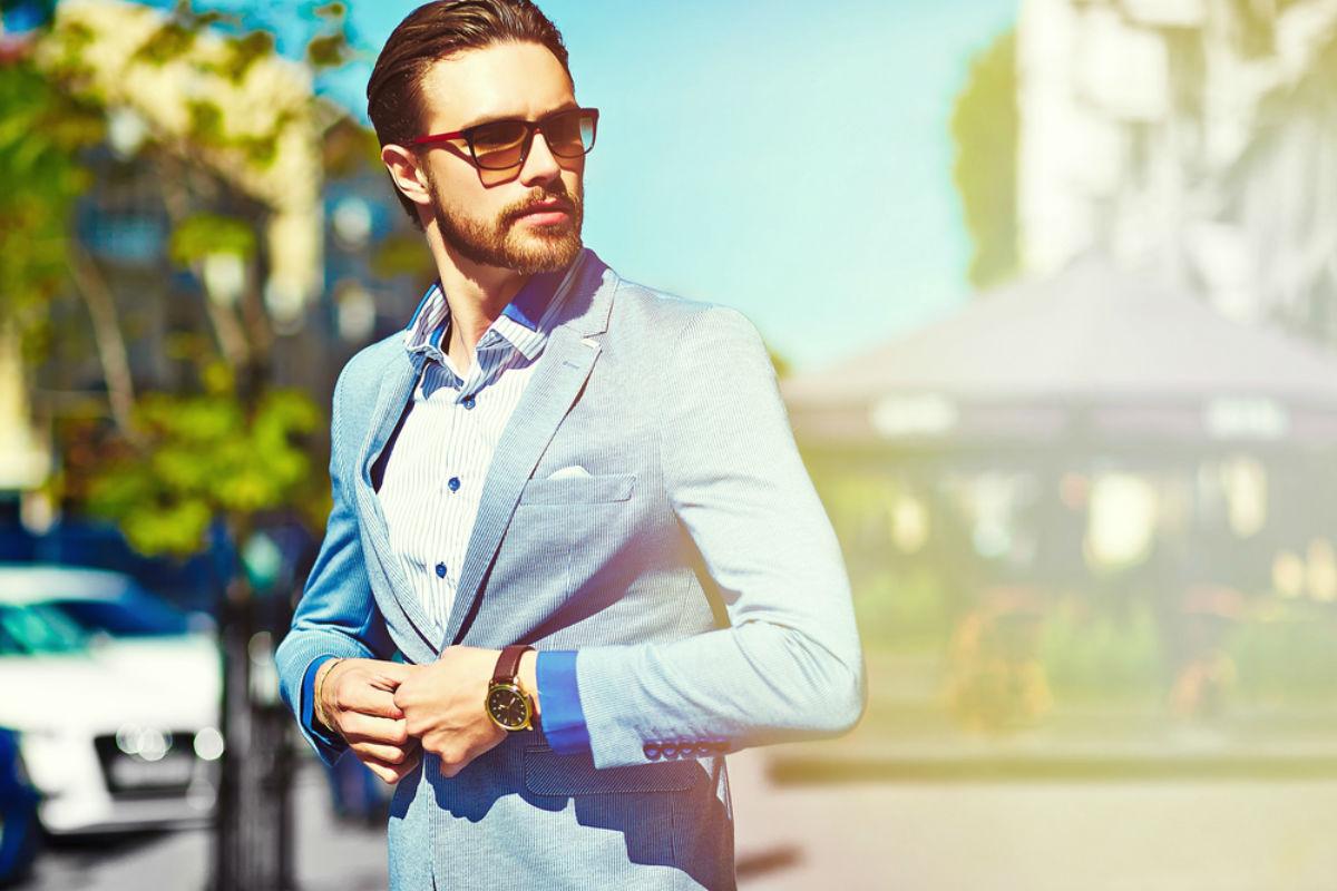 hombre negocios traje guapo saco boton lentes ser más atractivo traje costoso arrugas