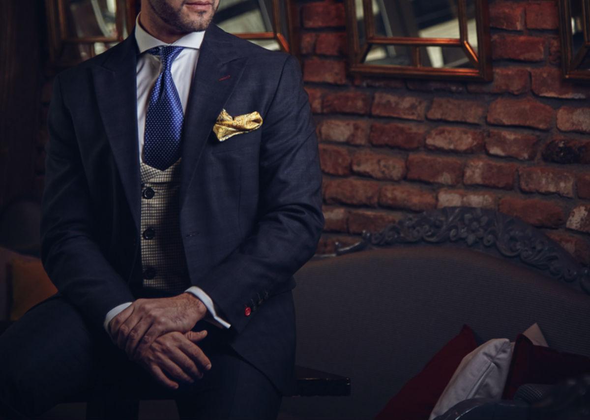 hombre traje corbata pañuelo elegante chaleco hombre honorable
