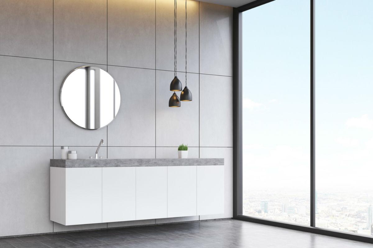 pared espejo vista ventanas casa baño