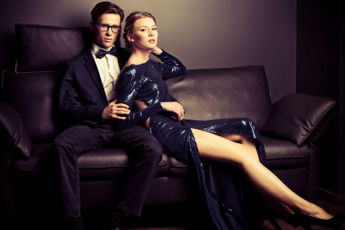 pareja glamour gala elegante