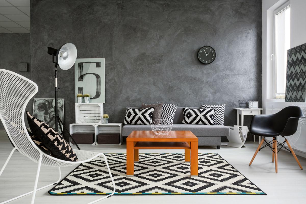 decoracion sala monocromatico blanco y negro